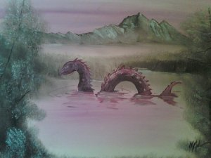 Chris McMahon adds monsters to garage sale landscape paintings he finds (Click through to his DeviantArt profile)