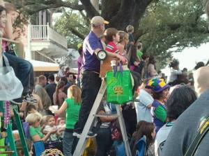 Mardi Gras ladders and crowd