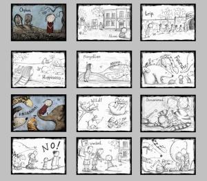 This fantastic storyboard came from Rebecca Elliot's blog, http://retrodoodler.blogspot.co.uk/