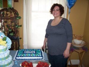 At my baby shower, which turned out to be just weeks before delivery. My hands and face are obviously swollen already.