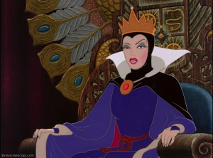Peacock imagery often surrounds the Evil Queen to suggest vanity.