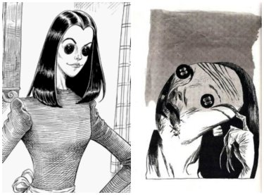 Two illustrations of The Other Mother from Dave McKean's illustrations to the first edition