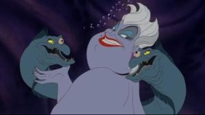 Ursula with pets Flotsam and Jetsam