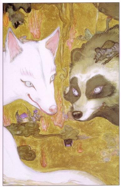 Fox makes a bet with Tanuki. Art by Yoshitaka Amano.